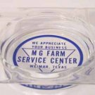 Glass Ashtray – Ad for MG Farm Service Center, Weimar TX
