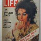 1972 Feb 25 Life Magazine  Elizabeth Taylor is 40! Howard Hughes. China. John Lindsay.
