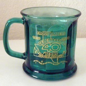 Girl Scout Commemorative Mug    Heavy Emerald Glass Collectible