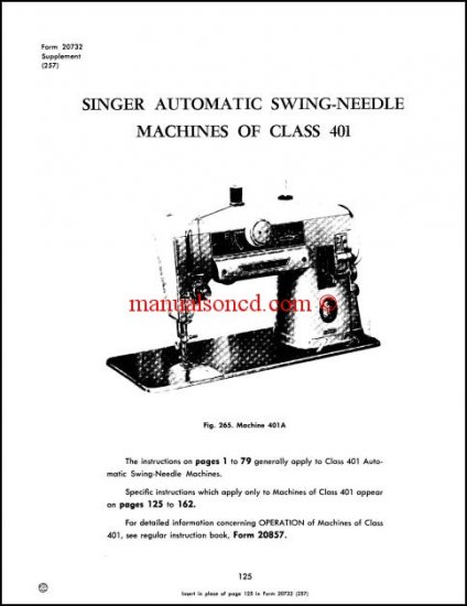 Singer 401A Adjusters Service And Repair Manual