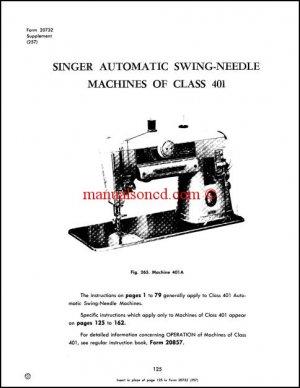 Singer 401A Adjusters Service And Repair Manual