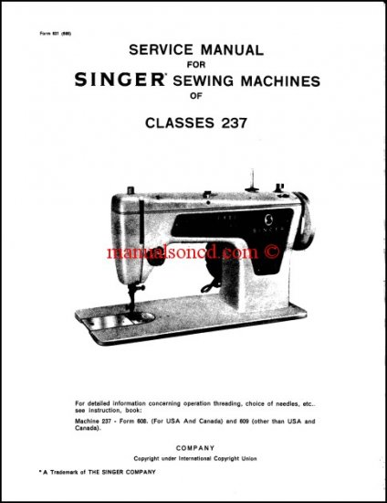 Singer Model 237 Sewing Machine Service Manual