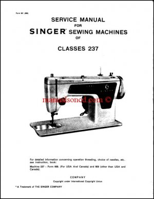 Singer Model 237 Service And Repair Manual
