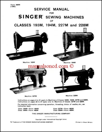 Singer 193M - 194M - 227M - 228M Service Manual
