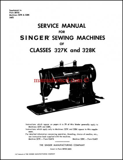 Singer 327K - 328K Sewing Machine Service Manual