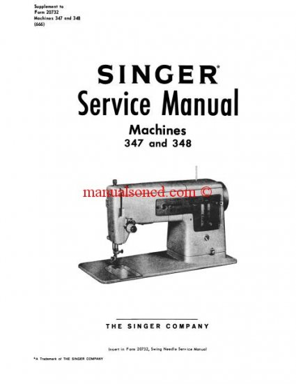 Singer 347-348 Sewing Machine Service and Repair Manual