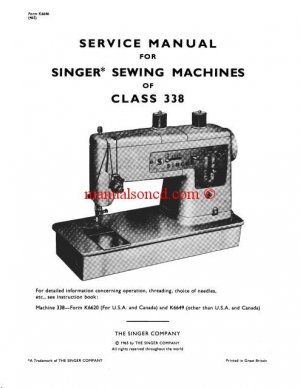 Singer 337 338 Class Sewing Machine Service And Repair Manual
