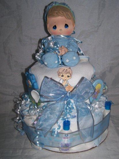 2-tier Blue Precious Moments Diaper Cakes