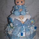 2-tier Blue Precious Moments Diaper Cakes