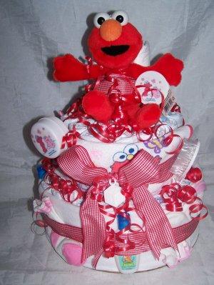 2 tier Elmo Girl Sesame Street Diaper Cakes