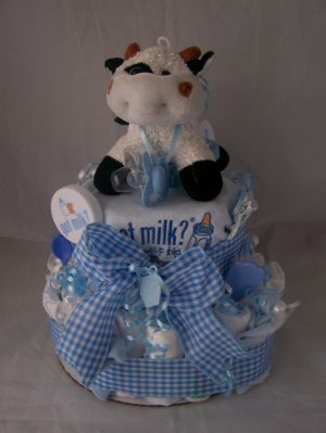 "2-Tier Blue ""Got Milk"" Diaper Cakes"