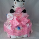 "2 - Tier Pink ""Got Milk"" Diaper Cakes"