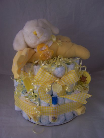 2- Tier Neutral Yellow Prayer Puppy Diaper Cakes