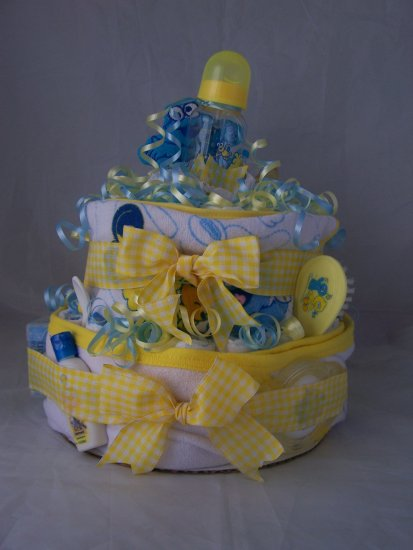 2-Tier Blue/Yellow Sesame street Diaper Cakes