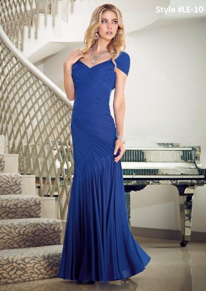 x #LE10 Blue Evening Gowns, Short Sleeve Formal Dresses w/ shirring