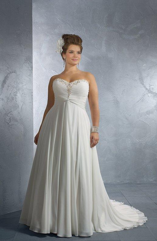 B1022x aline plus size wedding dresses chiffon bridal gowns for Plus size wedding dresses okc