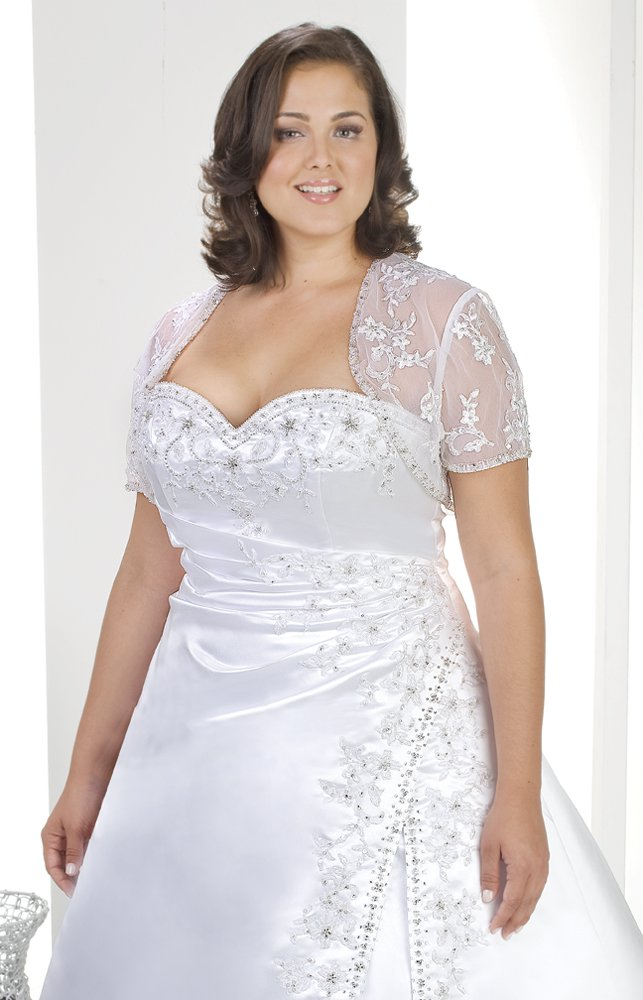x - Plus Size Lace Wedding Gowns w Shrug Jacket