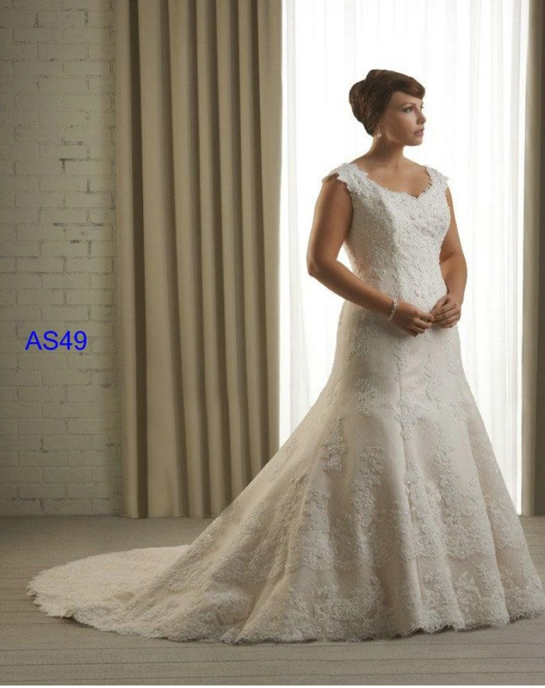 x - #AS49 Plus Size Beach Wedding Dresses