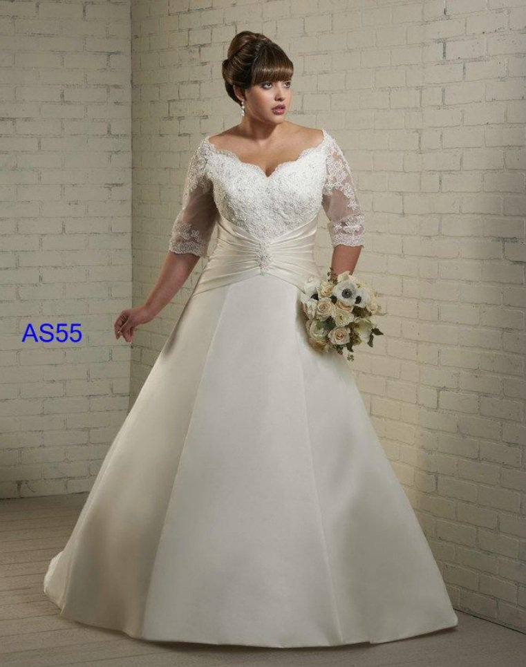 #AS55 Plus Size Wedding Dresses with Sleeves