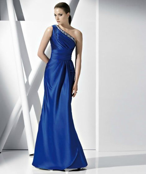 #DW44 x - One Shoulder Blue Evening Dresses - Custom Pageant gowns