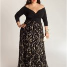 Darius Cordell Black Evening Gowns for Plus Size Women, Long Sleeve Dresses