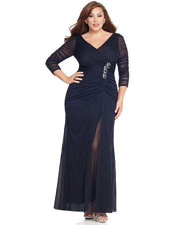 Darius Cordell Chiffon Plus Size Dresses - Long Sleeve Formal Dresses