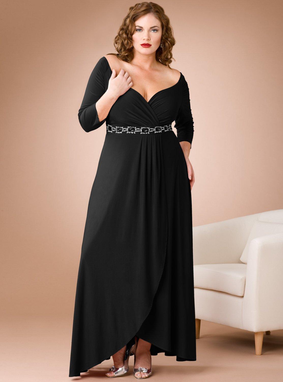 #2013-70 x | Long Sleeve Portrait Neckline Evening Dresses for Plus Size Women
