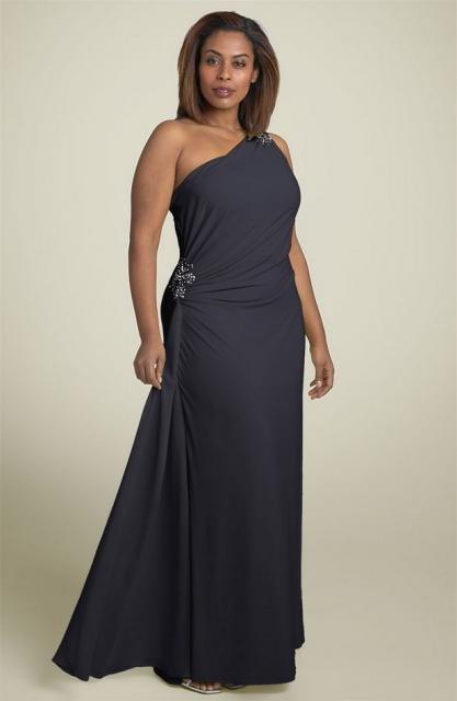 #2013-E43 x | Black Evening Wear for Plus Size Women