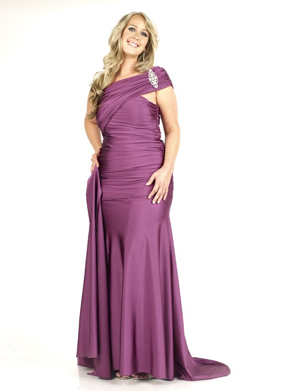 Darius Cordell Satin Plus Size Evening Dresses, Ruched Formal Wear