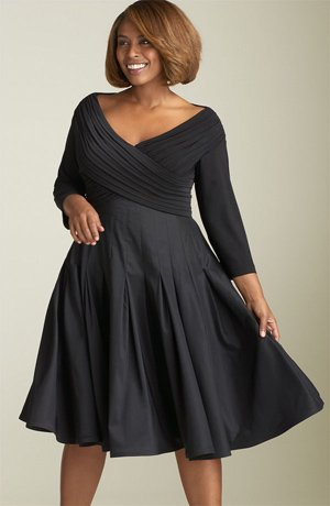 #C2013-44 x | Black Plus Size Cocktail Dresses with Long Sleeves