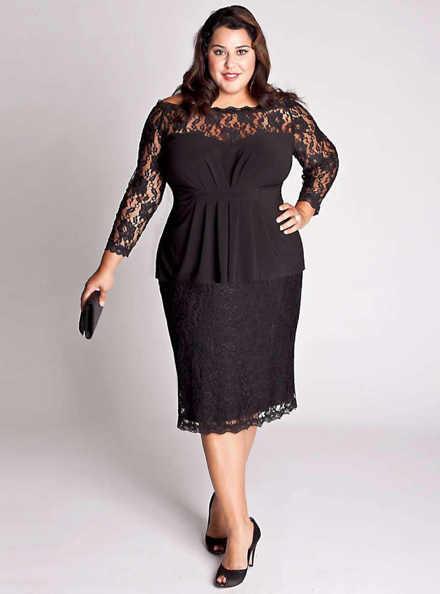 Darius Cordell #C2013-52 Black Lace Cocktail Dresses for Plus Size Women