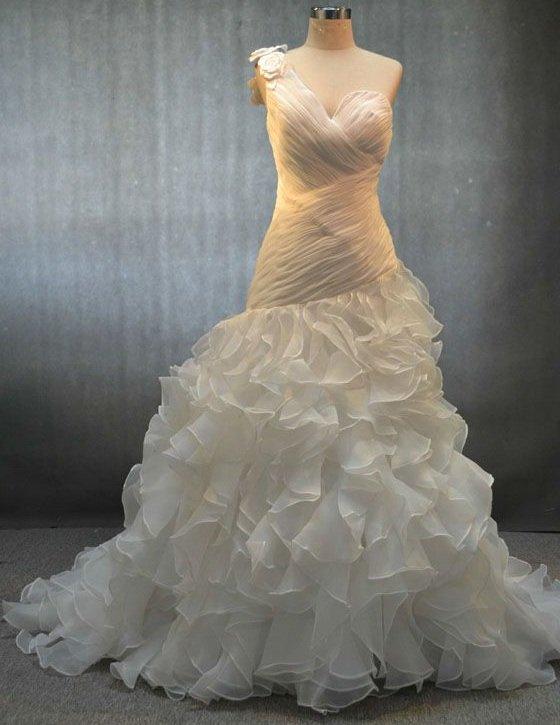 x - #kd-nov030 - One Shoulder Bridal Gowns, Custom Wedding Dresses