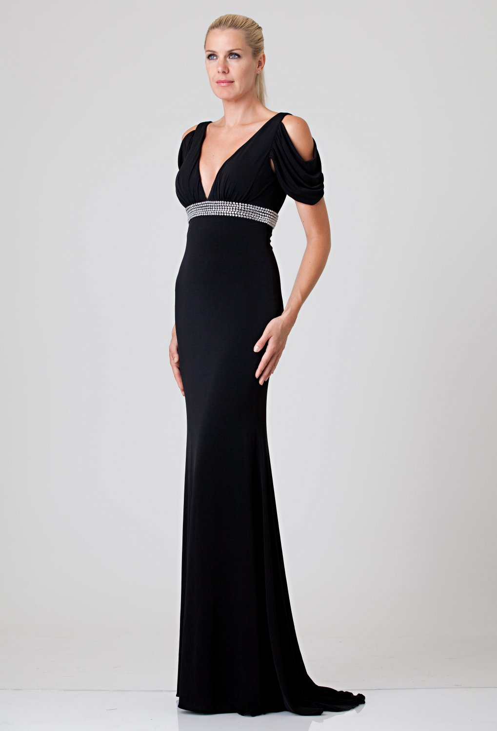 GA#862496 x - Black Evening Dresses, Short Sleeve Formal Gowns