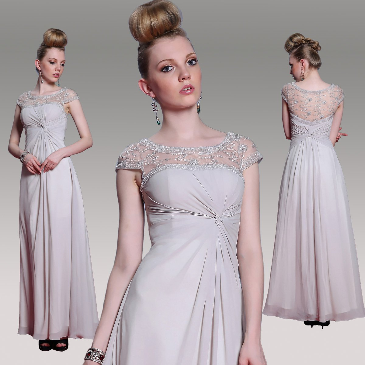 #F30986 - Cap Sleeve Mother of Bride Evening Gown - x Fashion Ltd