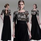 #F30968 - Short Sleeve Black Lace Mother of Bride Gowns - x Fashion
