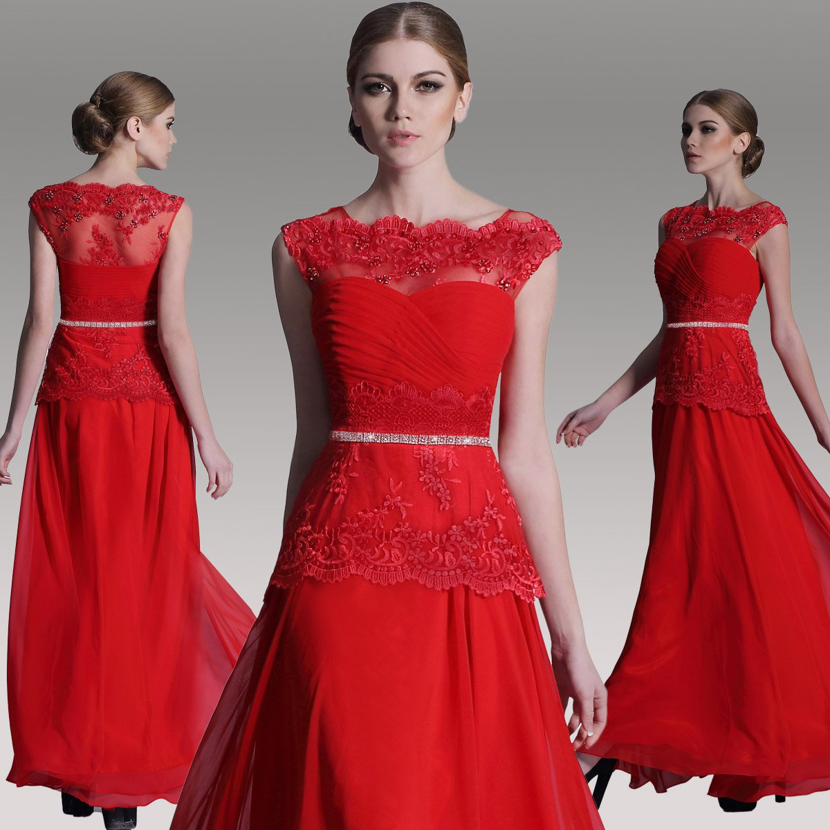#F30979 - Red Lace Mother of Bride Special Occasion Gowns - x Fashion Ltd