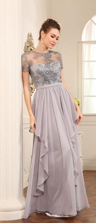 Platinum Mother of Bride Evening Dresses - Short Sleeve Formals