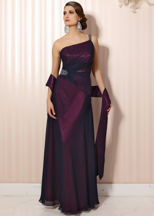 #LE058 One Shoulder Evening Gowns