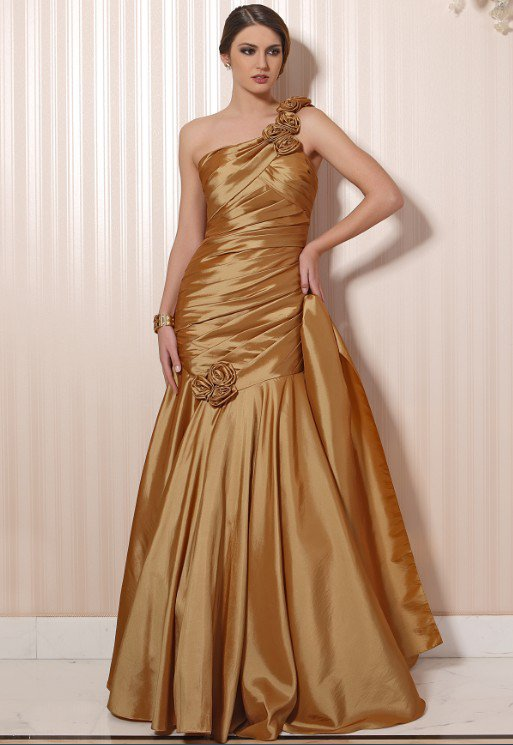 #LE060 Gold One Shoulder Satin Evening Dresses