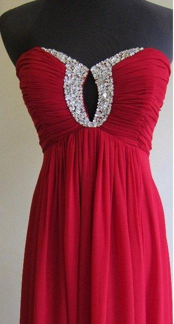 Style J522 - Red Chiffon Evening Dresses - Strapless Formal Dresses