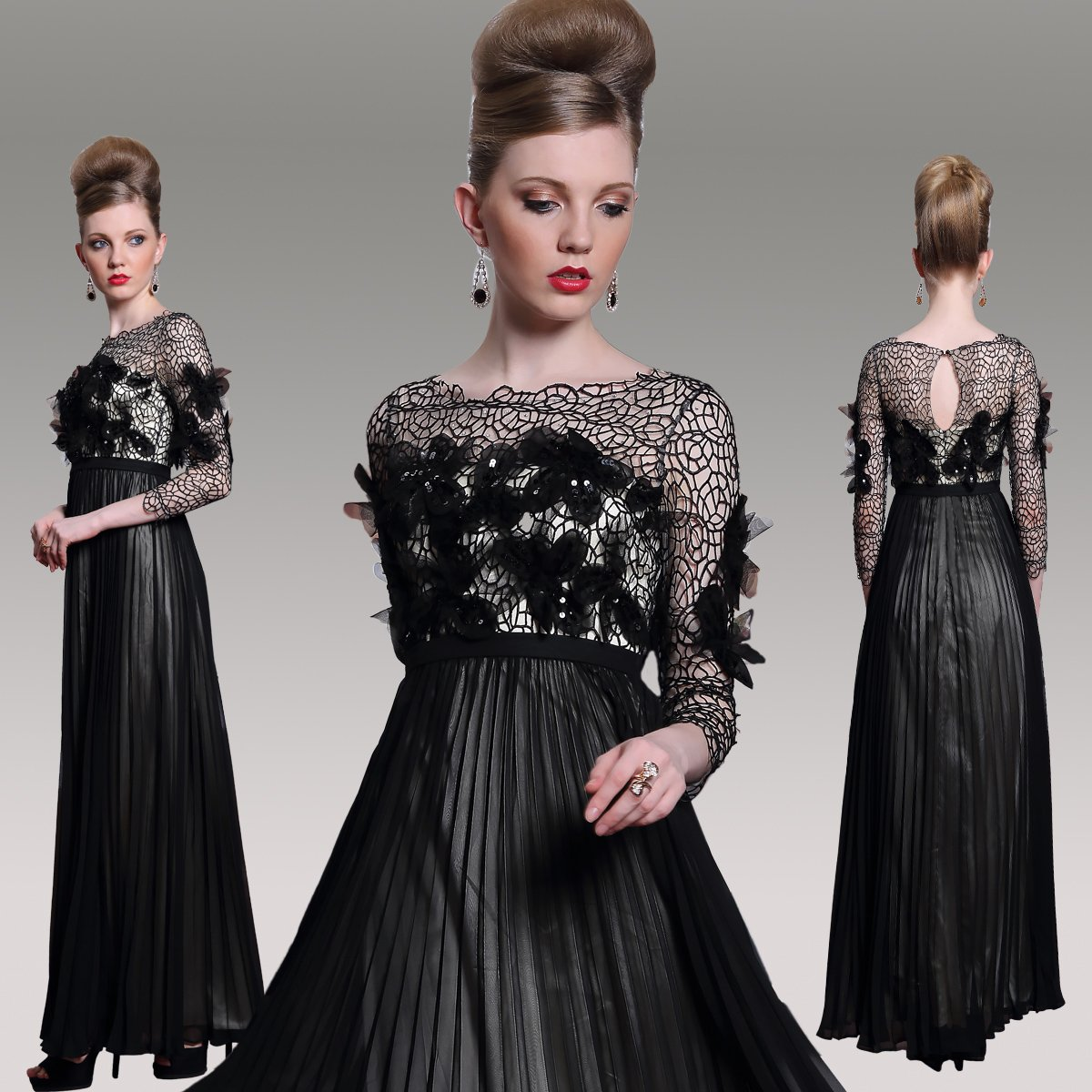 #F30989 Black Long Sleeve Empire Waist Evening Gown