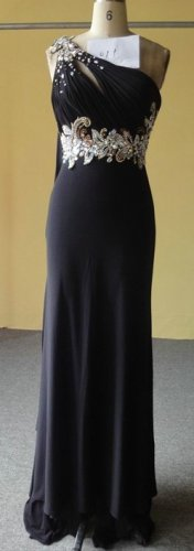 #Y011 - Black One shoulder evening gown