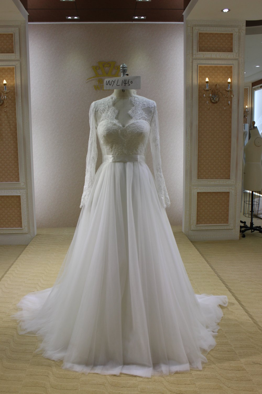 #WE1450 Long Sleeve Plus Size Lace Wedding Dress
