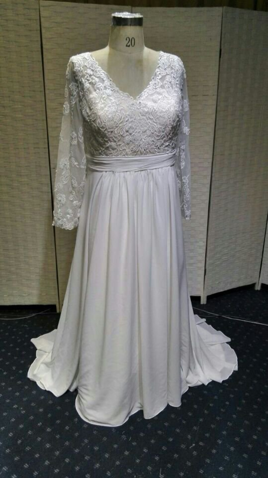 PS1429x - Custom Plus Size Wedding Gown with Long Sleeves