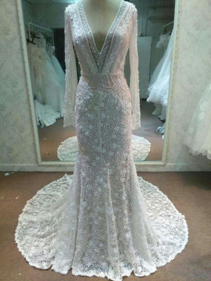 862da841f200 Darius Cordell Long Sleeve Wedding Gown Inspired by Inbal Dror