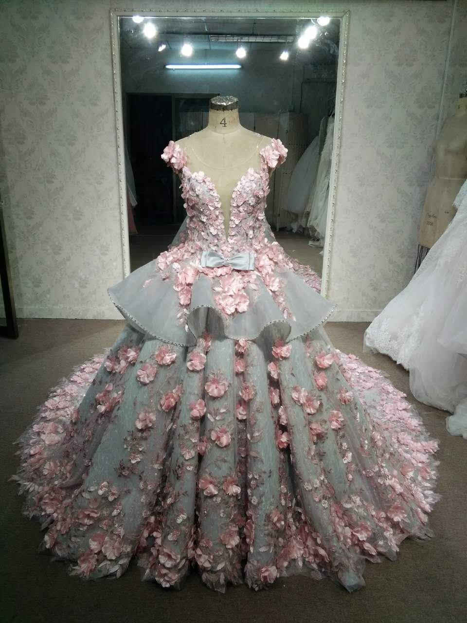 13a195c46 Darius Cordell Grey & Pink plus size wedding dress