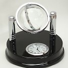 Etched Crystal Glass World Globe with Clock Loricron 4018