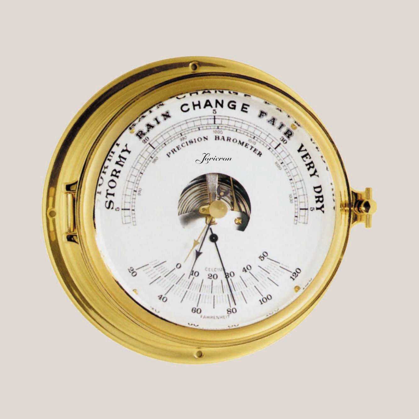 German-Made Solid Brass Case Ship's Thermometer and Barometer Loricron OL-203