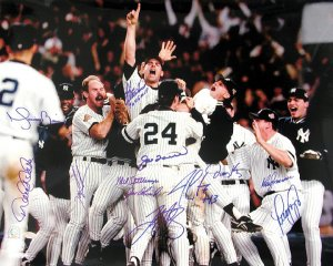 1996 Ny Yankees Team Signed 16x20 Photo - 12 Signatures