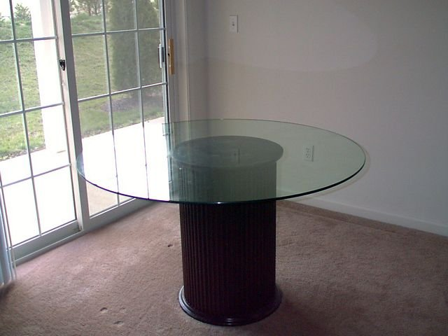 Glass Top Table and Fluted Base